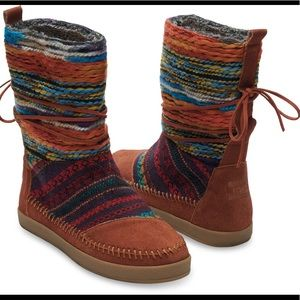 Tom's Nepal Brown Suede Nepal Colorful Ankle Boots